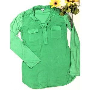 Splendid Tops - Anthropologie Splendid Green Mixed-Media Tunic Top